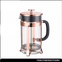 coffee plunger Rose gold electroplating color coffee plunger borosilicate glass french press 350ML