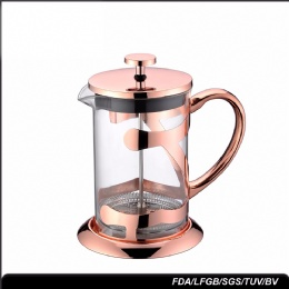 stainless steel coffee plunger Coffee Accessories Personalized 1 Liter rose gold glass Tea french Press