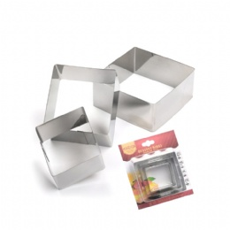 Set of 3PCS Stainless steel square mirror polish cookie cutter cake mould
