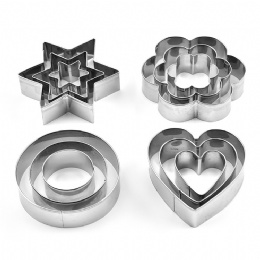 Wholesale Baking Tool Cute Design Stainless Steel Cookie Mould heart round flowers star shape Cake Mould