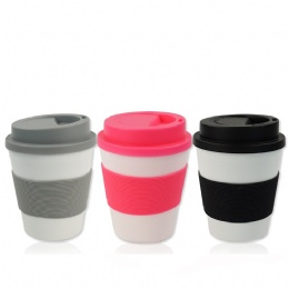 best travel coffee mug Bpa Free 16oz double wall plastic mug coffee travel cup with sleeve wrap and lid