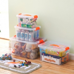 plastic storage boxes Transparent stackable small multi lockable plastic storage bins with handle