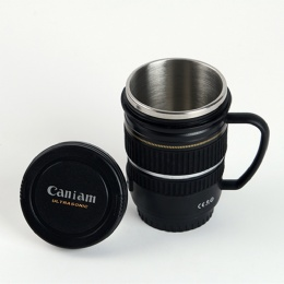 stainless steel bottle Camera Len Shape Coffee Mugs with handle