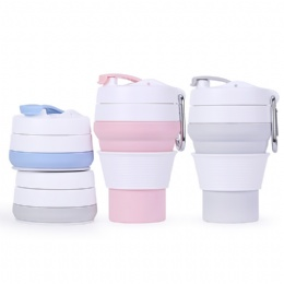 collapsible coffee cup Wholesale Custom Portable Folding Silicone Drinking Coffee mug With Lid