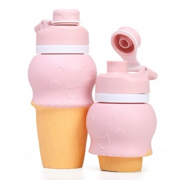Ice Cream Shape Soft Silicone Kids Water Bottle Silicone Foldable Water Bottle