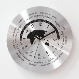 High quality fancy silver aluminum metal frame wall clock